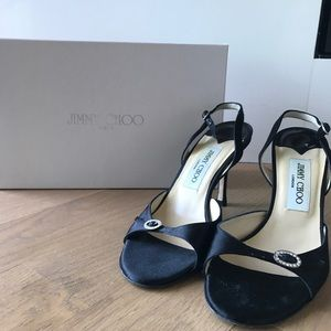 Silk Satin Black Jimmy Choo Party Shoes